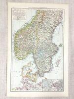 1898 Antik Map Of Skandinavien Norwegen Dänemark Gothland Schweden Alte 19th
