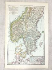 1898 Antique Map of Scandinavia Norway Denmark Gothland Sweden Old 19th Century