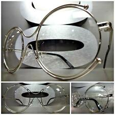 New VINTAGE RETRO Style Clear Lens EYE GLASSES Round unique Silver Fashion Frame
