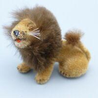 Vintage Wagner Kunstlerschutz Flocked Lion Figure Toy Wild Animal W Germany Sit