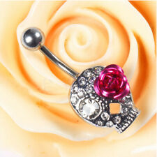Navel Bar BodyPiercing Jewelry Skull New Crystal Rhinestone Belly Button Ring