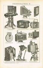 Tafel PHOTOGRAPHIE / CAMERA / KAMERAS / PHOTOAPPARATE 1895 Original-Holzstich