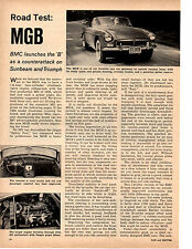 1963 MG MGB  ~  NICE ORIGINAL 2-PAGE ROAD TEST / ARTICLE / AD