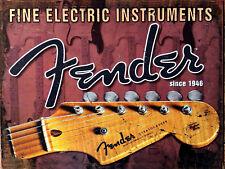 Fender Guitar, Retro metal Aluminium Sign vintage / Man Cave