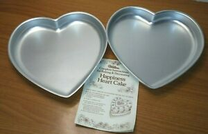 Set of 2 Vintage Aluminum Wilton Heart Shaped Cake Pans 502-951