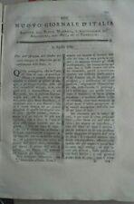 1789 RIVISTA NUOVO GIORNALE D'ITALIA:RAPE MONTECCHIO EMILIA ZUCCHERO ASTRONOMIA