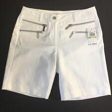 "MICHAEL KORS White Shorts Double Silver Zipper Accent Women 4 Inseam 8"" NWT $150"