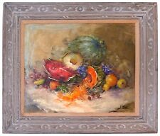 Fruit Still Life Oil Painting by Nora Lee Carved Wood Frame Signed Large 38x32