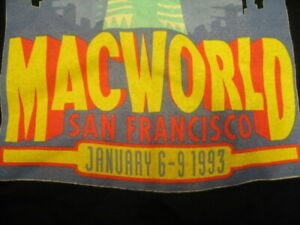 Apple MACWORLD 1993 T-SHIRT XL Extra Large Mac World SF BMUG Users Group Black