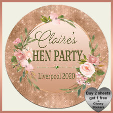 Personalised GLITZY BOTANICAL STICKERS - Birthday Hen Paty Floral Wedding Labels