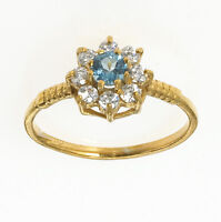 Gold Blue Topaz Ring Blue Topaz Cluster Ring Ladies Engagement Ring Size F - V