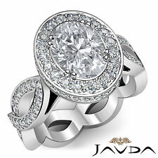 Unique Oval Cut Diamond Halo Engagement Ring EGL G SI1 14k White Gold 2.3 ct