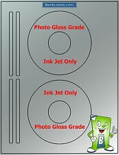 50 PHOTO GLOSSY Ink Jet Labels! Fits Size 5931 - 25 Sheets! CD DVD High Gloss