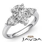 Women's Pear Shape Diamond 3Stone Engagement Ring GIA I VS2 14k White Gold 1.5ct