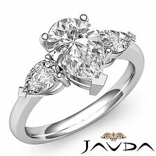 Women's Pear Shape Diamond 3Stone Engagement Ring GIA I VS2 14k White Gold 1.5ct