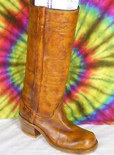 8-8.5 vintage 70's ladies brown leather Justin knee-high campus boots Nos
