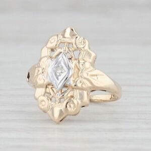 Vintage Diamond Princess Ring 14k Yellow White Gold Size 3.75