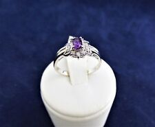 SOLID STERLING SILVER CLUSTER RING 1x5x3mm oval Amethyst,6x1.00 & 6x1.5mmcz 2.2g