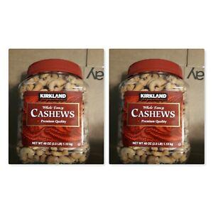 2 Kirkland Signature Whole Fancy Cashews, Nuts w/sea Salt 2.5 lb Each.  F
