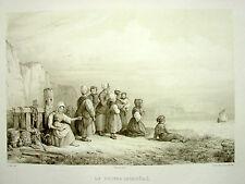 DELACROIX (Aug.) & Ed. TUDOT [Lithographie] Le Retour inespéré (XIX°s.) Marine