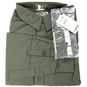 First Tactical Shirt Long Sleeve Shirt Men's Large Vented Water Resistant Green