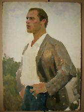 Russian Ukrainian Soviet Oil Painting realism male portrait man figure 1950s