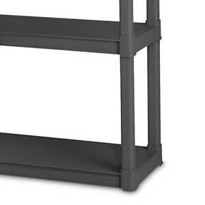 Sterilite 4 Shelf Durable Solid Surface Shelving Unit, Flat Gray (6 Pack)