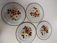 "4 Vintage ""Linda"" Salad Plates. Stoneware By Excel. Set of 4. Floral Pattern"