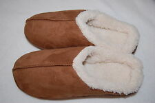 Women BROWN SLIPPERS Slip On FAUX SUEDE Sherpa Lined MEM FOAM Rubber Sole M 9-10