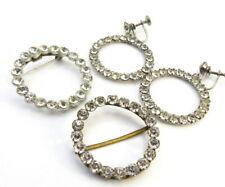 Vintage Clear Rhinestone Brooch Earrings SET Czech