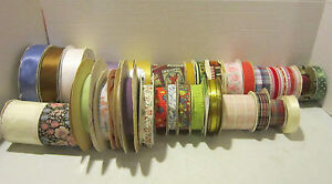 Huge lot full & partial rolls of cloth & other vintage craft ribbon - 600+ yards