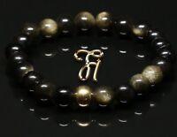 Obsidian 925er sterling Silber vergoldet Armband Bracelet Perlenarmband schwarz