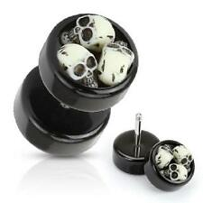 Earrings Rings Cheater Black Acrylic Fake Plug Three Embedded Skulls 16g -  pair