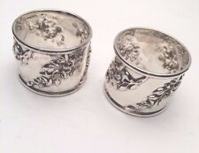 Galmer Silver Company Sterling Silver Pair of Rose Napkin Rings