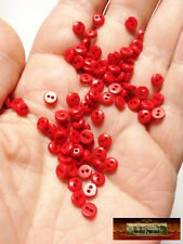 M00232 RED MOREZMORE 50 Tiny 5 mm 5mm Miniature Buttons Mini Doll Baby A60