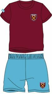 Boys WEST HAM FC short pyjamas 3 - 12 yrs football shortie pjs