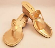 Montego Bay Club Womens Metallic Gold Wedge Sandal Size 8.5
