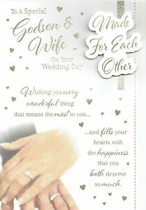 Special GODSON and WIFE on Your WEDDING DAY - Quality Card - Made for Each Other