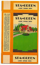 STA-GREEN Lawn Grass Seed Box – 1920s – Unfolded and Never Used