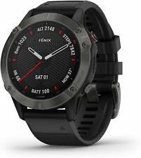 Garmin fenix 6 Sapphire GPS Watch Carbon Gray DLC with Black Band, Excellent
