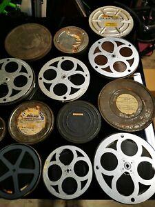 Vintage 16mm job lot joblot films reels tins film colour black white 40 odd