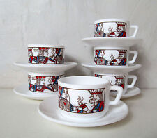 6 tasses et soucoupes Arcopal jeu de carte B. Dauphin Vintage