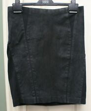 ELIE TAHARI black  bodycon pencil skirt with nubuck front panels skirt size 10