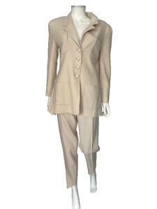 Chanel 1997 Beige Cream Vintage Blazer Jacket Two Piece Pant Suit sz 6/42