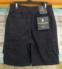 New US Polo Assn Girls Sz 14 School Uniform Cargo Shorts Elastic Waist Blue NWT