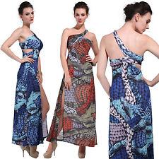 One Shoulder Cocktail Floral Maxi Dresses for Women
