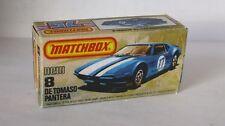 Repro Box Matchbox Superfast Nr. 8 De Tomaso Pantera blau