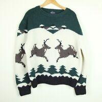 Vintage Woolrich 100% Wool Mens Crewneck Sweater Deer Knit Intarsia XL Pullover