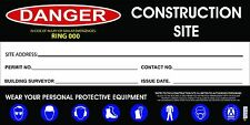 Owner Builder Sign, Construction Site Sign, Corflute Sign, 600 x 300mm sign