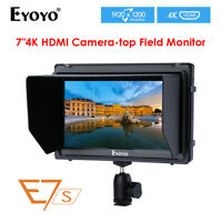 "E7S 7"" IPS On Camera Field Monitor HD 4K 1920x1200 W/F970 LP-E6 Battery Mount"